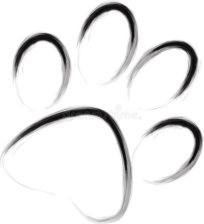 Abstract paw. Hand drawn and artistic