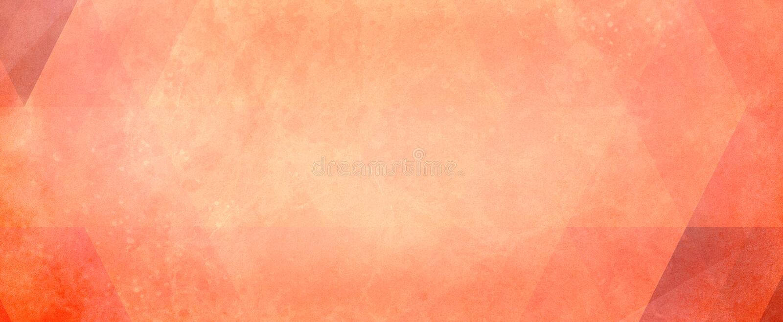 Abstract peach and orange background with faint red triangles and low poly blocks and triangle pattern. And soft white grunge border texture vector illustration