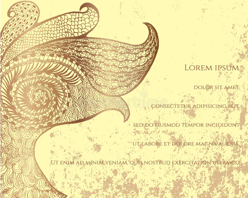 Abstract peacock postcard stock illustration