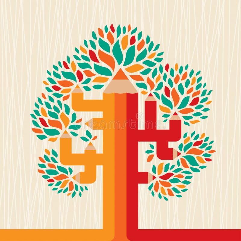 Abstract pencil tree. royalty free illustration