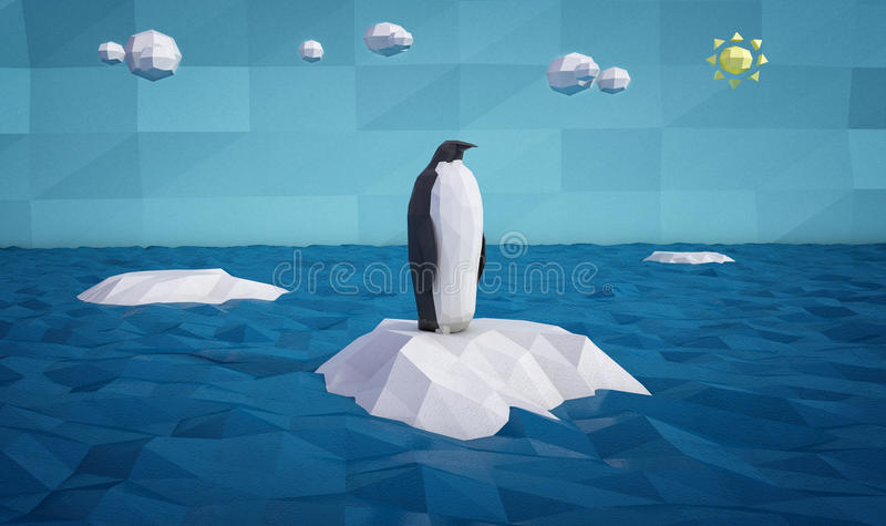 Abstract penguin on an iceberg royalty free illustration