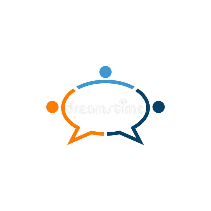 Abstract people discussions forming chat bubble. Abstract people figure discussions forming a chat bubble icon vector design royalty free illustration
