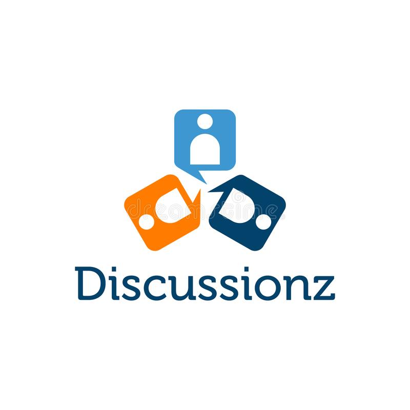 Abstract people figure chat icon discussions. Logo vector. Abstract people figure discussions icon vector illustration stock illustration