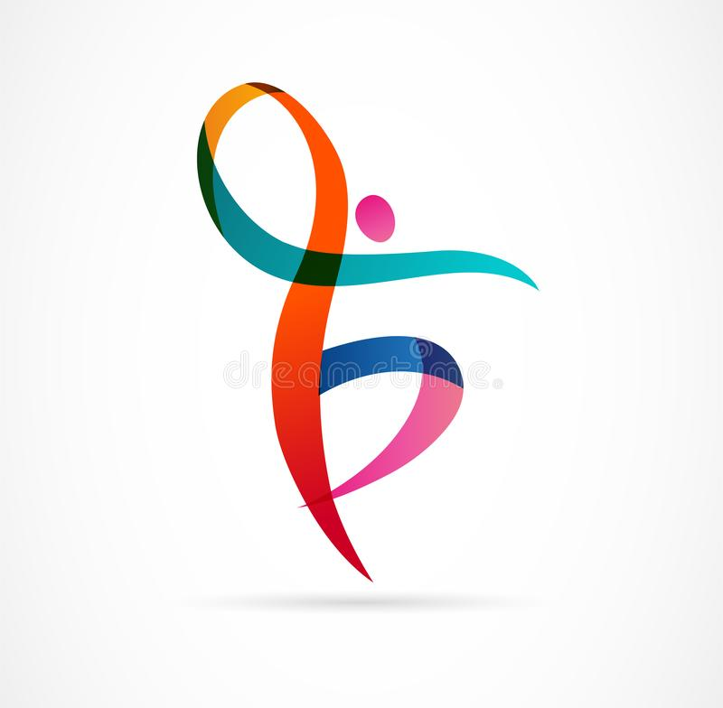 Abstract human figure logo design. Gym, fitness, running trainer vector colorful logo. Active Fitness, sport, dance web. Abstract people logo design. Gym vector illustration