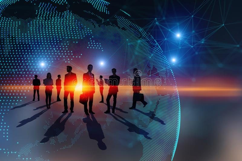 Teamwork, global business and media concept. Abstract people silhouettes with digital map. Teamwork, global business and media concept. Double exposure stock illustration