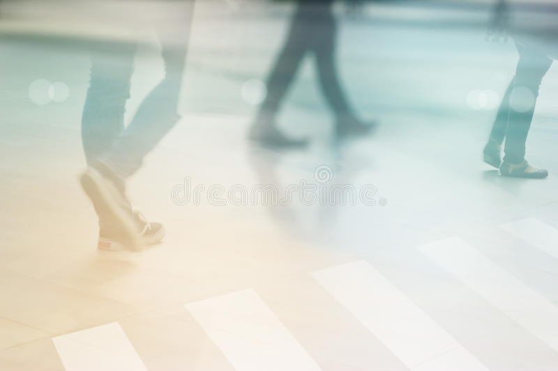 Abstract people street walk in the city, pastel and blur concept stock image