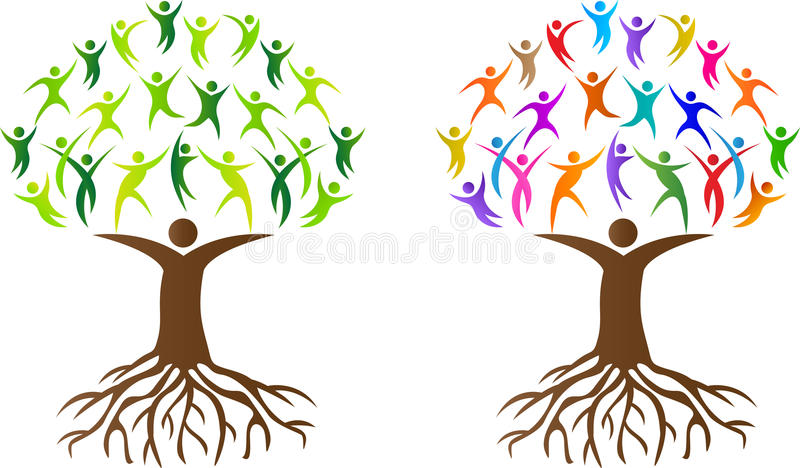 Abstract people tree with root royalty free illustration