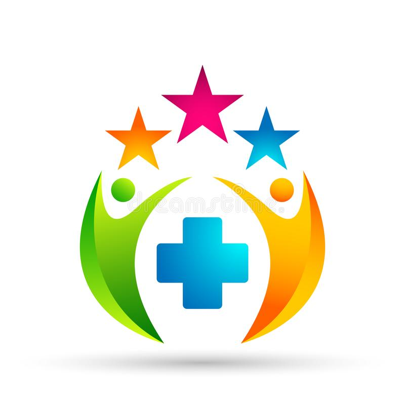 Abstract medical clinc People Union Celebration on Corporate Invested Business successful logo Financial Investment concept icon stock illustration