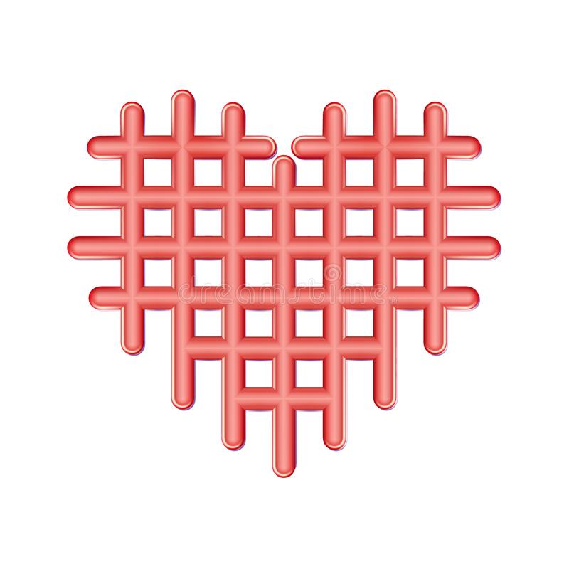 Abstract perforated red heart icon, plastic Love symbol. Checkered Valentines, cells emblem. Cell Heart matt simple pictogram on royalty free illustration