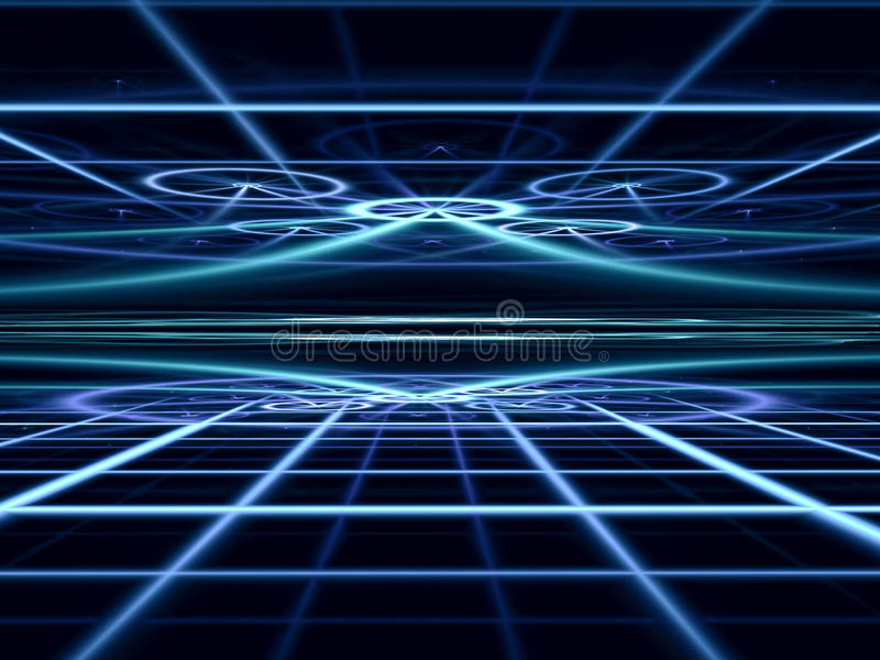 Abstract perspective background - digitally generated image. Fractal geometry: dark technology or esoteric background with grid, straight lines, circles and stock illustration