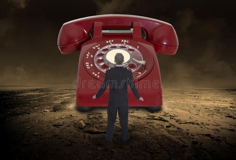 Abstract Phone Sales, Marketing, Business. Abstract concept for phone sales, cold calls, robocalls, marketing, and business. A businessman is in a surreal stock photo
