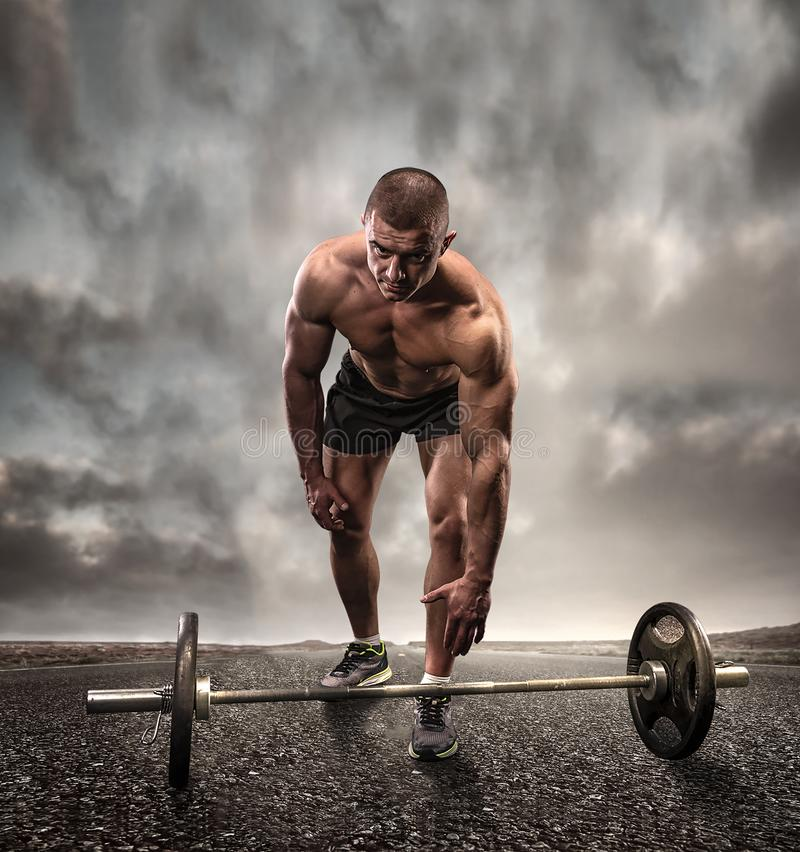 Abstract photo of bodybuilder stock images