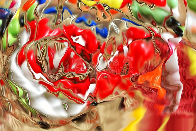 Multicoloured abstract photo, appearing like melting glass. An abstract photo featuring multiple colours with the apperance of molten glass stock image
