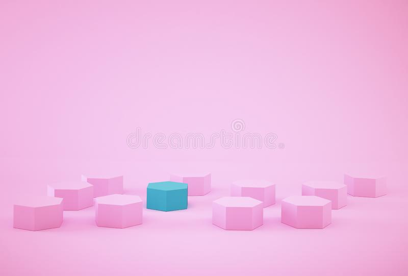 Abstract photo of ourstanding blue beehive-like hexagons among pink hexagons on pink background. minimal business concept stock photos