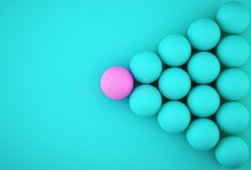 Abstract photo of ourstanding pink sphere among blue sphere on blue background. minimal business concept.  stock image