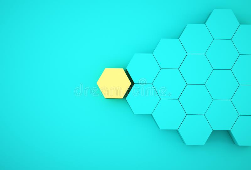 Abstract photo of ourstanding yellow beehive-like hexagons among blue hexagons on blue background. minimal business concept.  stock photo