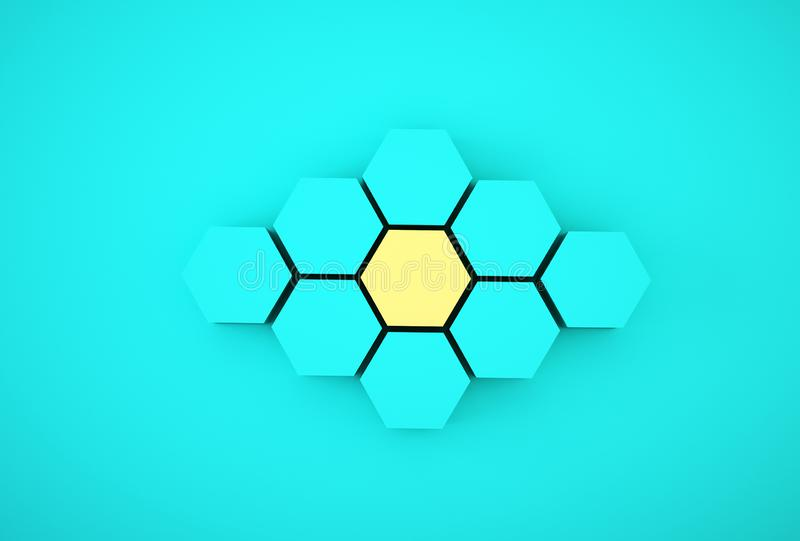 Abstract photo of ourstanding yellow beehive-like hexagons among blue hexagons on blue background. minimal business concept.  royalty free stock images
