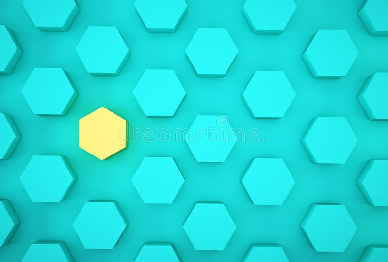 Abstract photo of ourstanding yellow beehive-like hexagons among blue hexagons on blue background. minimal business concept royalty free stock photos