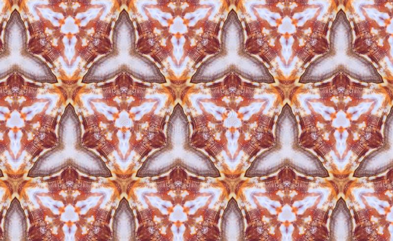 Abstract photo pattern sea shell. Orange and red. Black and blue. Yellow and white. Seamless photo background pattern. Sea shell. Abstract shapes. Three rounded stock illustration