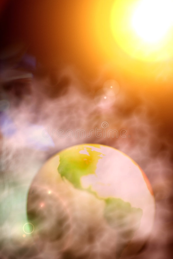 Abstract Photo of Surreal Earth and Solar System stock illustration