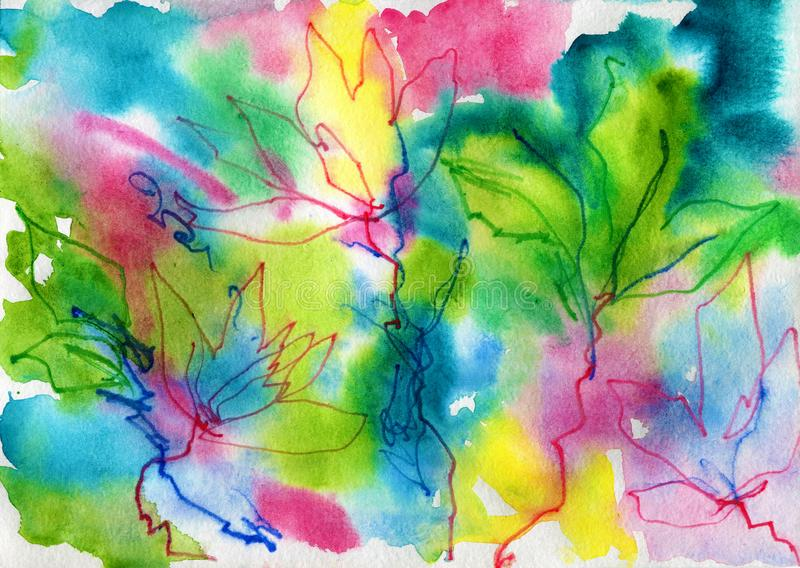 Abstract pianting of herbs and flowers. Spring meadow. Emotional painting. Watercolor artwork. Watercolor texture stock illustration