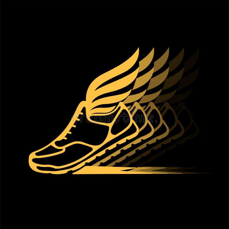 Abstract pictogram van sportenschoenen met vleugels in dynamica royalty-vrije illustratie