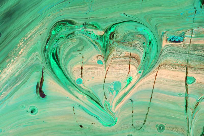Abstract picture of the heart. Green color in oriental style royalty free stock image