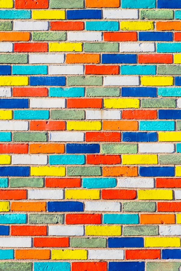 Abstract picture of wall with colorful bricks. background. stone urban design royalty free stock photo