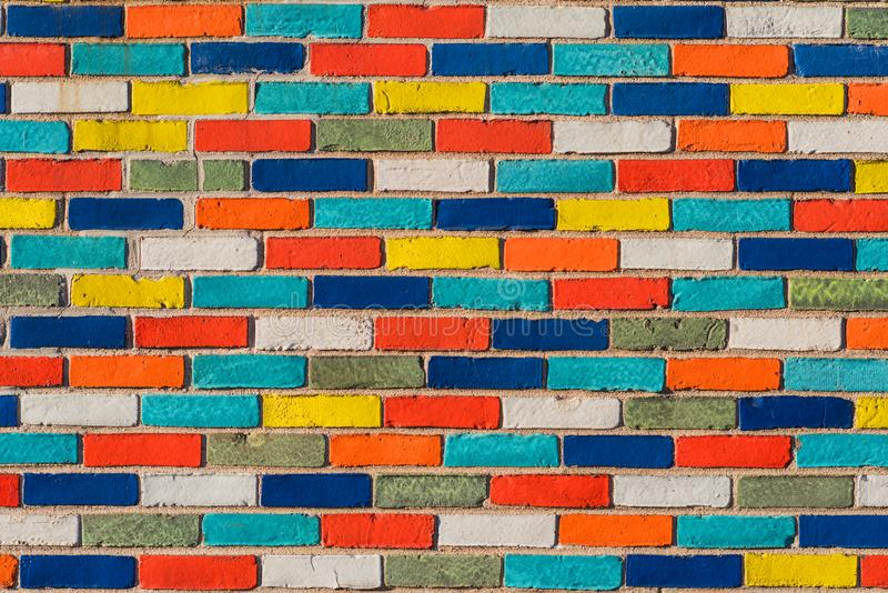 Abstract picture of wall with colorful bricks. background. stone urban design stock photos