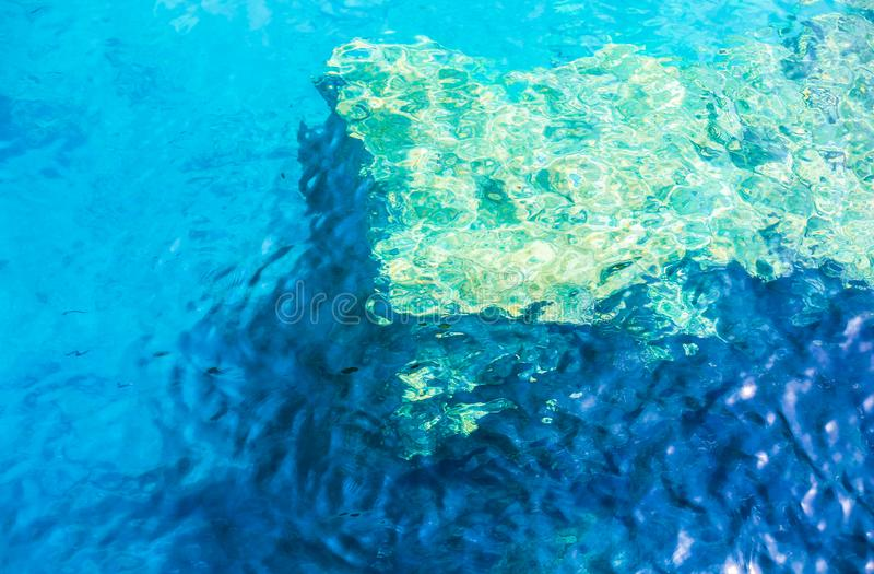 Abstract picture with water waves. Off the coast, water is light blue and light green stock image