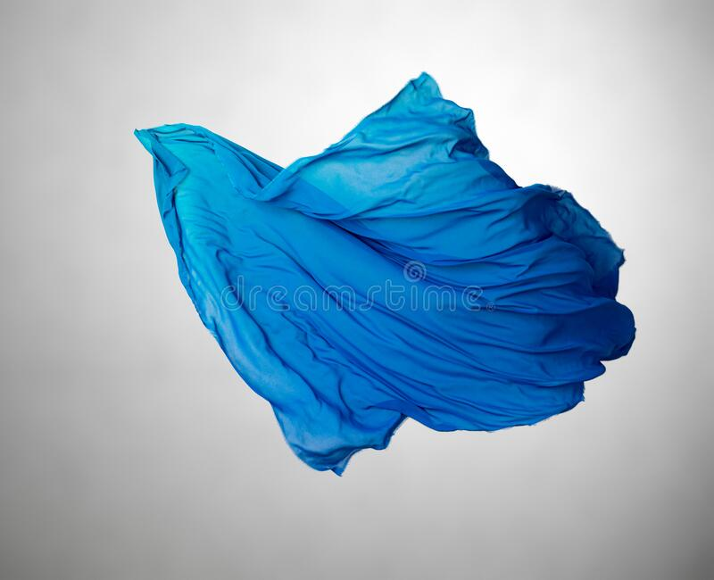 Abstract blue fabric in motion royalty free stock photo