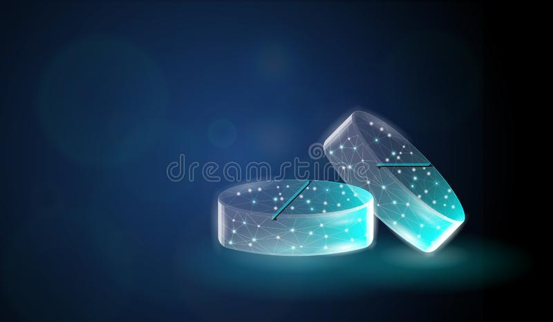 Abstract of pill bug comprised of polygonal wireframe on a dark blue bokeh background. Medical, pharmacy, health,  pharmaceutical, concept vector illustration