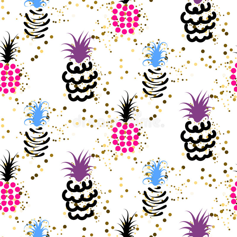 Abstract pineapple with gold glitter bright colors pattern. Glam chic ananas seamless surface texture design for wrap paper and craft projects royalty free illustration