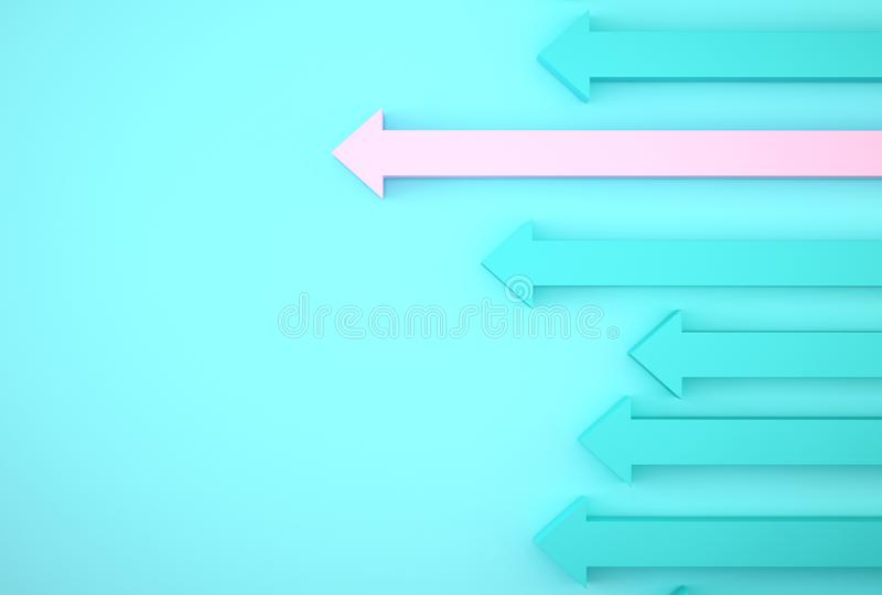 Abstract of pink arrow graph on blue background, corporate future growth plan. Business development to success and growing growth royalty free stock photography