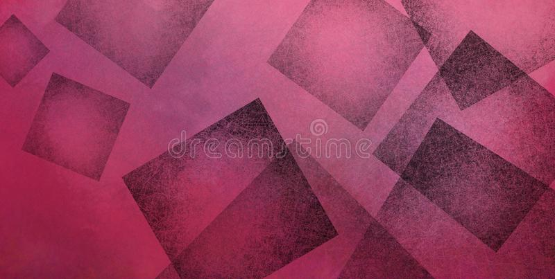Abstract pink and black background with black geometric square shapes layered in random pattern, elegant modern wallpaper design royalty free illustration
