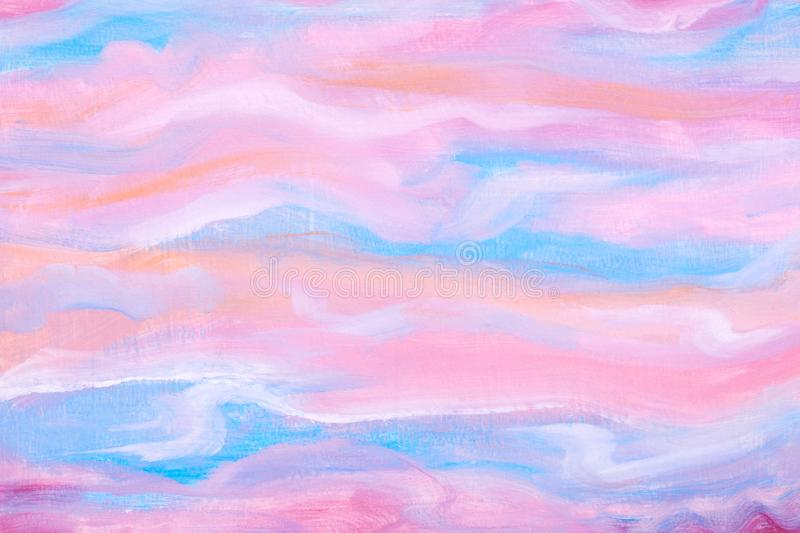Abstract pink and blue hand painting background. Blur background texture. Art, design and illustration concept. Acrylic picture. C vector illustration