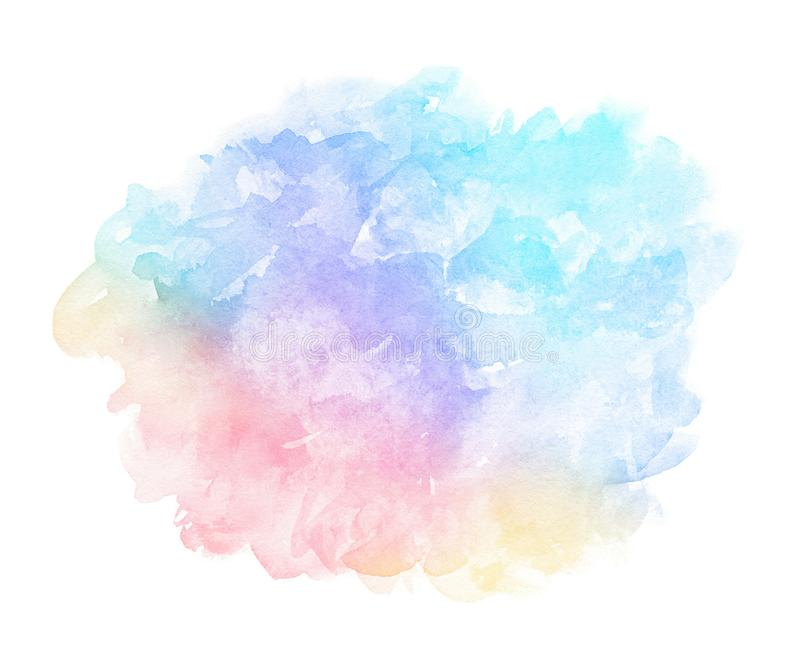 Abstract pink blue red yellow green violet orange purple watercolor on white background.The color splashing in the paper.It is a h stock illustration
