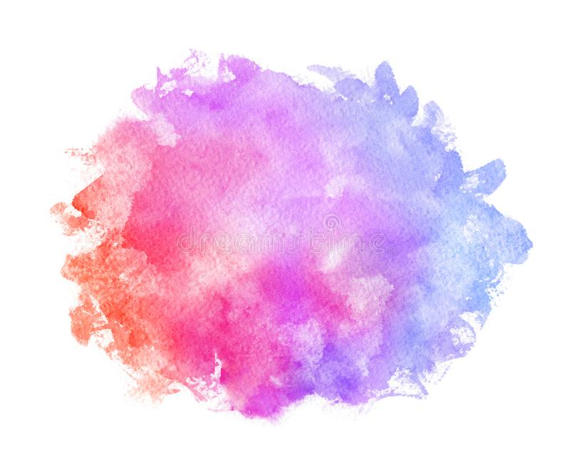Abstract pink blue red yellow green violet orange purple watercolor on white background.The color splashing in the paper.It is a h royalty free illustration