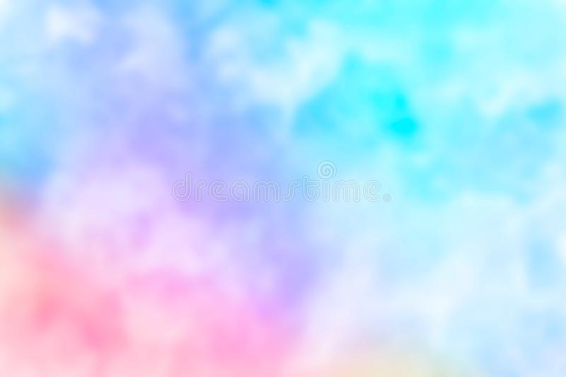 Abstract pink blue red yellow green violet orange purple watercolor on white background.The color splashing in the paper.It is a h. And drawn. Blurred royalty free illustration
