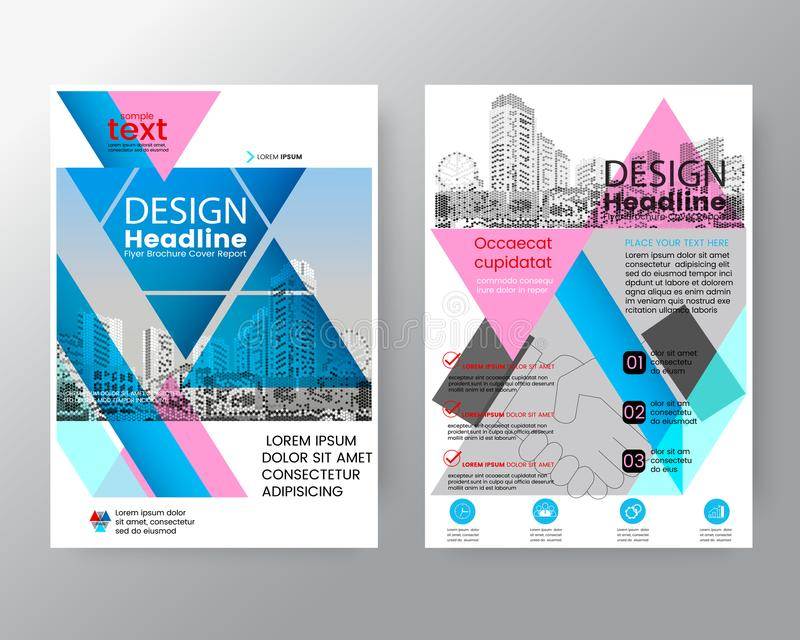 Abstract pink and blue triangle Brochure annual report cover Flyer Poster design Layout template royalty free illustration