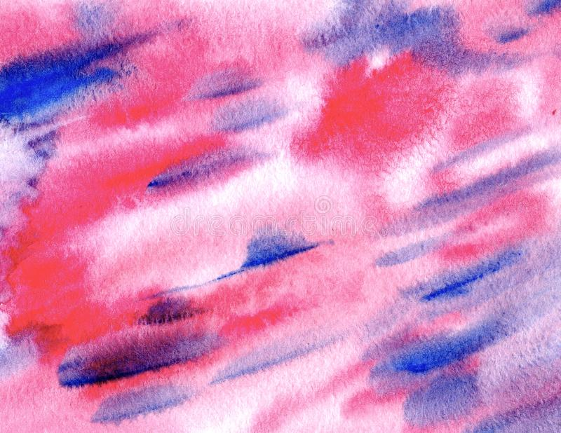 Abstract pink and blue watercolor background. Decorative screen stock photo