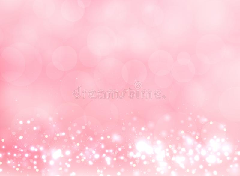 Abstract pink blurred light background with bokeh and glitter e stock illustration