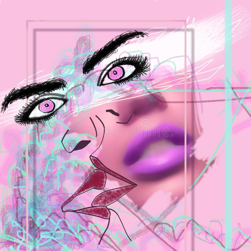 Abstract pink cover art with eyes a and lips royalty free stock images