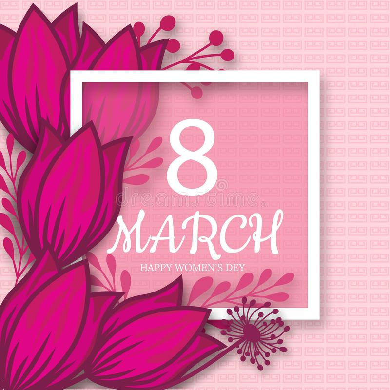 Abstract Pink Floral Greeting card - International Happy Women`s Day - 8 March holiday background with paper cut Frame Flowers. royalty free illustration