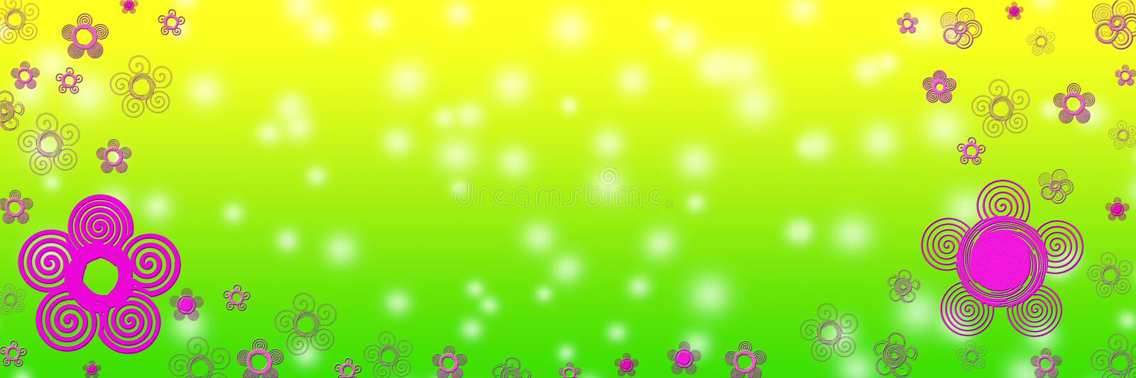 Abstract Pink Flowers in Blurred Green and Yellow Background royalty free stock photo