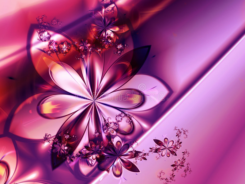 Abstract Pink Fractal Flower Background vector illustration