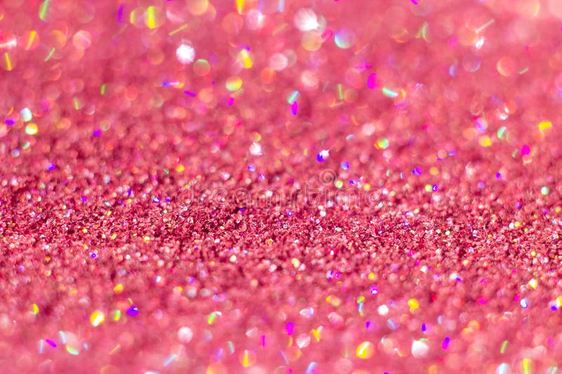 Abstract Pink glitter background with beautiful bokeh. Abstract Pink glitter background with beautiful round bokeh, blured and shiny effect stock photo