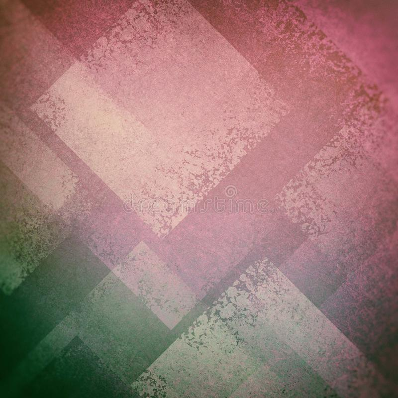 Abstract pink and green background with diamond shapes in white layers in abstract pattern texture stock photos