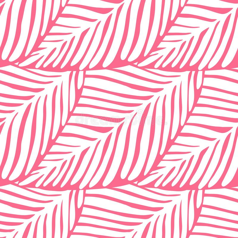 Abstract pink leaf seamless pattern. Exotic plant. Tropical pattern royalty free illustration