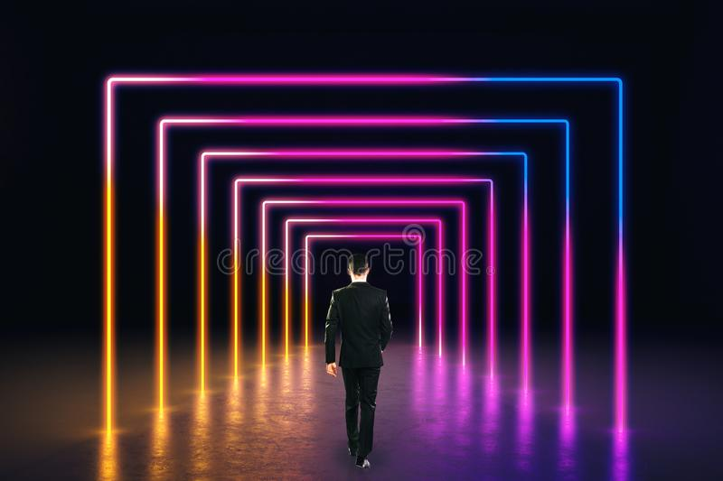 Abstract pink neon corridor stock image